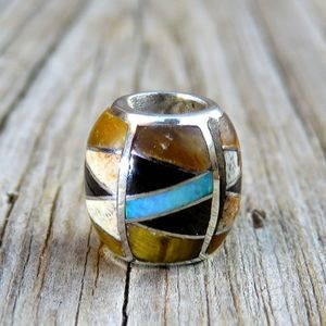 SOLDNavajo 925 Opal Tiger's Eye Inlay Bead Pendant